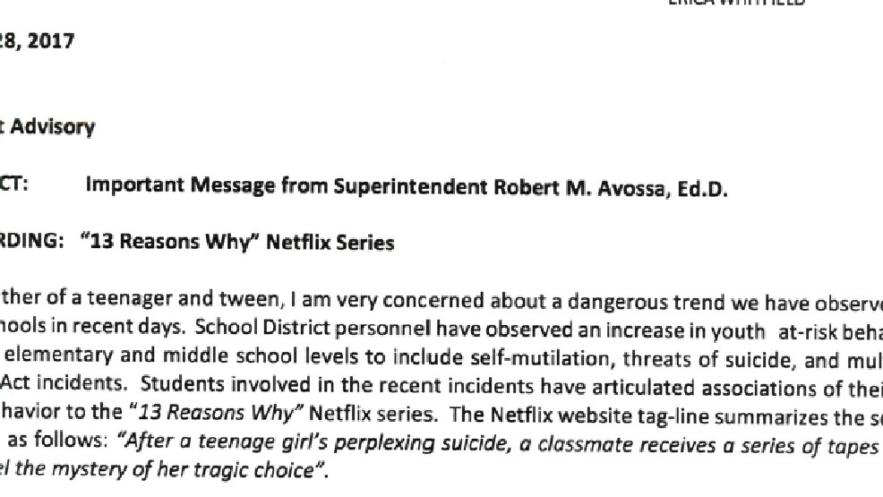 Palm Beach County Schools Sends Warning About 13 Reasons Why