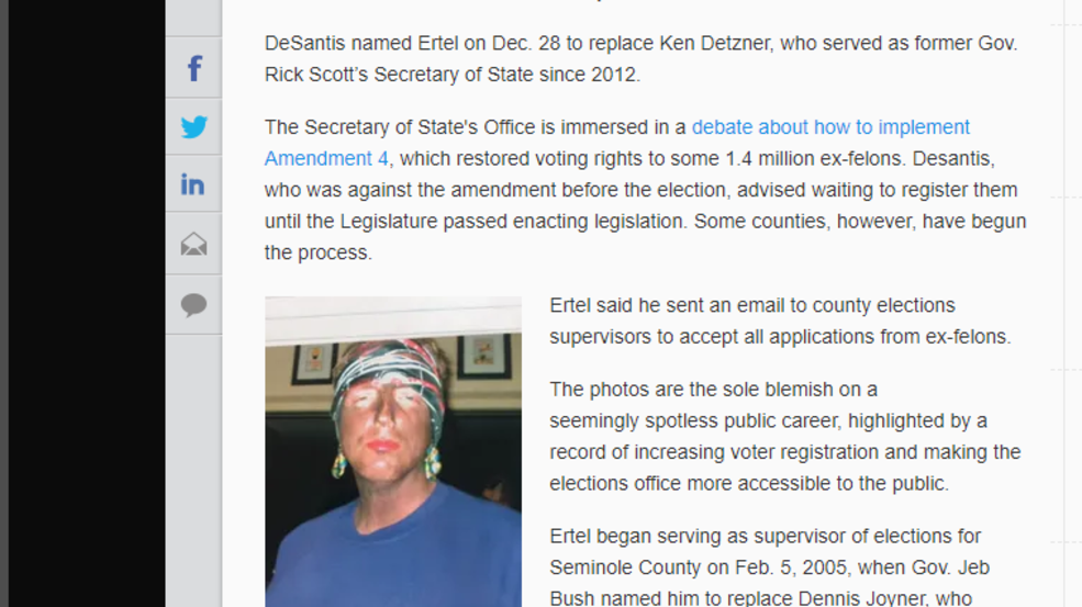 Florida elections chief resigns when blackface photos emerge